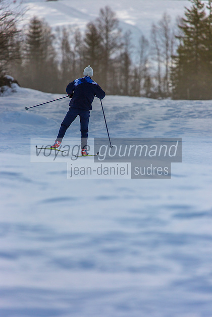 France, Jura(39), Parc naturel régional du Haut-Jura, Les Rousses, Ski de fond au lac des Rousses //  France, Jura, Parc Naturel Regional du Haut Jura (Jura Mountains Regional Natural Park), Les Rousses, Skiing at  lake of the Rousses<br /> Auto N°: 2013-108