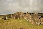 Chile, Easter Island: Platforms at site Ahu Vinapu showing two stages of stone construction, one more primitive and the latter more exquisite, possibly influenced by the Incas..Photo #: ch313-32660.Photo copyright Lee Foster www.fostertravel.com lee@fostertravel.com 510-549-2202