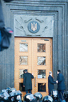 Leaders of opposition parties are denied to enter the building of Ministry. Kiev. Ukraine.