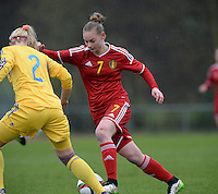 20150404 - FORST , GERMANY  : Belgian Margaux Van Ackere  pictured during the soccer match between Women Under 19 teams of Belgium and Ukraine , on the first matchday in group 5 of the UEFA Elite Round Women Under 19 at WaldseeStadion , Forst , Germany . Saturday 4th April 2015 . PHOTO DAVID CATRY