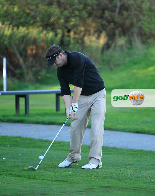 Shane Deegan (Spawell Driving Range) on the 9th tee during Round 1 of The Cassidy Golf 103rd Irish PGA Championship in Roganstown Golf Club on Thursday 10th October 2013.<br /> Picture:  Thos Caffrey / www.golffile.ie