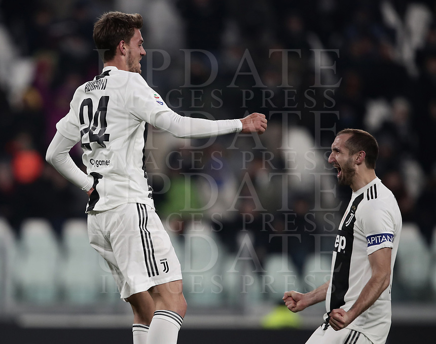 Calcio, Serie A: Juventus - Chievo Verona, Turin, Allianz Stadium, January 21, 2019.<br /> Juventus' Daniele Rugani (l) celebrates after scoring with his teammate and captain Giorgio Chiellini (r) during the Italian Serie A football match between Juventus and Chievo Verona at Torino's Allianz stadium, January 21, 2019.<br /> UPDATE IMAGES PRESS/Isabella Bonotto