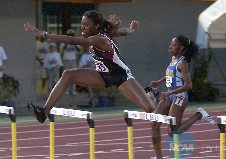 29 MAY 2002: Leshinda Demus (285) of South Carolina competes in the Women's 400 Meter Hurdles during the Division 1 Men's and Women's Track and Field Championship held at Bernie Moore Stadium on the LSU campus in Baton Rouge, LA.  Demus won the race with a time of 54.85. Rich Clarkson/NCAA Photos