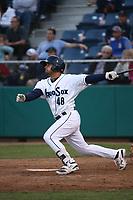 David Banuelos (48) of the Everett AquaSox bats against the Boise Hawks at Everett Memorial Stadium on July 20, 2017 in Everett, Washington. Everett defeated Boise, 13-11. (Larry Goren/Four Seam Images)