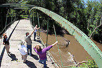 Julie Bowers, left, with other friends of the McDowell Bridge, gather on the bridge over the North Skunk River to discuss restoration plans on June 30.  Plans were in place to restore the 127-year old bowstring truss bridge later this fall.  The bridge was swept away by flood waters six weeks later.