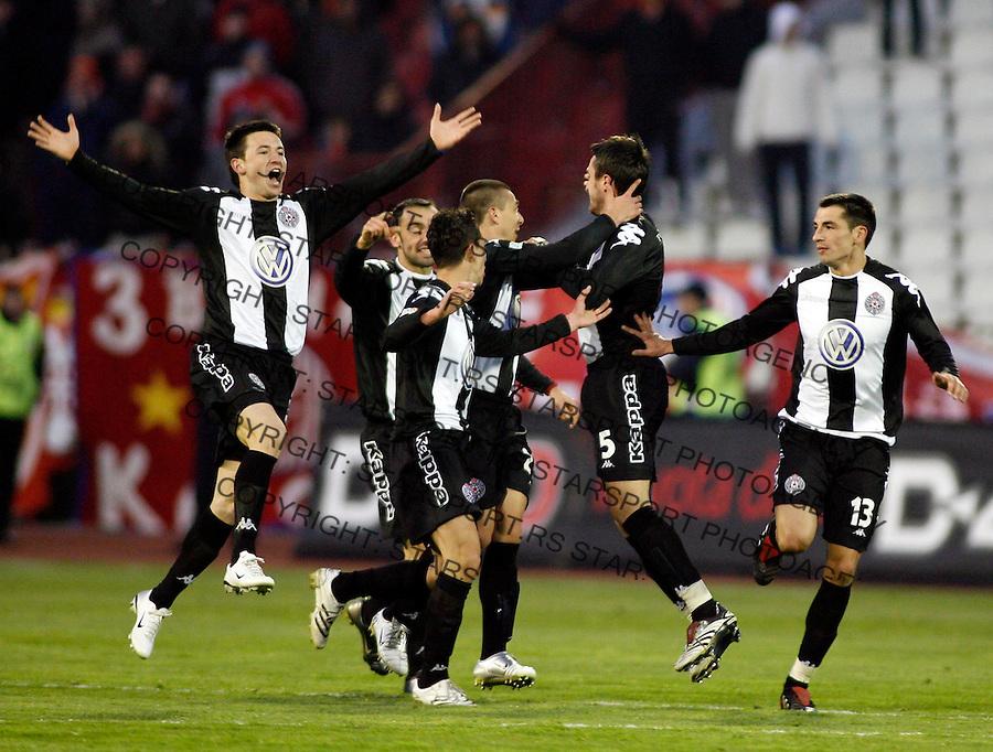 Fudbal, Super liga, season 2006/07, veciti derbi<br /> Crvena Zvezda Vs. Partizan<br /> Antonio Rukavina, left, Marko Lomic, right<br /> Beograd, 25.02.2007.<br /> foto: Srdjan Stevanovic