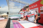 UAE Team Emirates at sign on before the start of Stage 4 of Il Giro di Sicilia 2019 running 119km from Giardini Naxos to Mount Etna (Nicolosi), Italy. 6th April 2019.<br /> Picture: LaPresse/Massimo Paolone | Cyclefile<br /> <br /> All photos usage must carry mandatory copyright credit (&copy; Cyclefile | LaPresse/Massimo Paolone)
