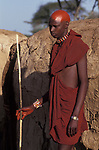 Maasai moran cover their recently shaved heads with ochre which signifies their coming into manhood during a an initiaiton ceremony of their age sets. <br /> Kajiado, Kenya.