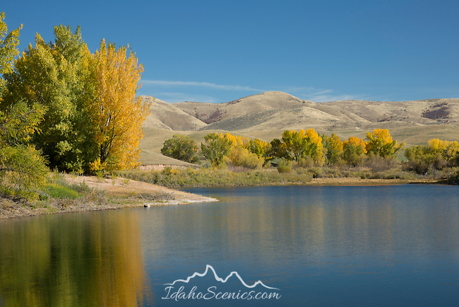 Idaho, South Eastern, Preston. Foster Reservoir in autumn.