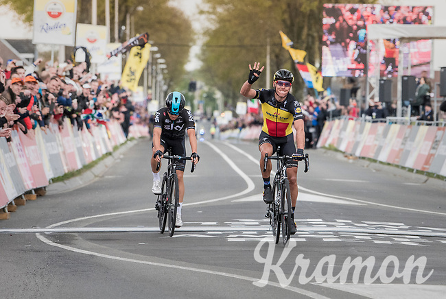 Philippe Gilbert (BEL/Quick Step floors) beating Michal Kwiatkowski (POL/SKY) in a sprint to the finish and taking his 4th AGR win<br /> <br /> 57th Brabantse Pijl - La Fl&egrave;che Braban&ccedil;onne (1.HC)<br /> 1 Day Race: Leuven &rsaquo; Overijse (197km)