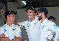 From left, NZ's Trent Boult, Tim Southee and Kane Williamson during day one of the international cricket 1st test match between NZ Black Caps and England at Bay Oval in Mount Maunganui, New Zealand on Thursday, 21 November 2019. Photo: Dave Lintott / lintottphoto.co.nz