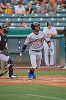 Rosell Herrera (23) of the New Orleans Baby Cakes at bat against the Salt Lake Bees at Smith's Ballpark on August 4, 2019 in Salt Lake City, Utah. The Baby Cakes defeated the Bees 8-2. (Stephen Smith/Four Seam Images)