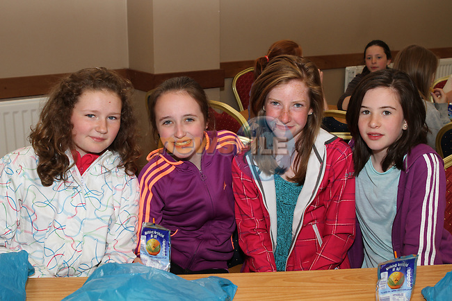 Niamh Doyle, Kate O'Connor, Orla Butler and Doireann Dullaghan at the Cross Community Event for school children in St.Peters Church of Ireland Hall....Photo NEWSFILE/Jenny Matthews.