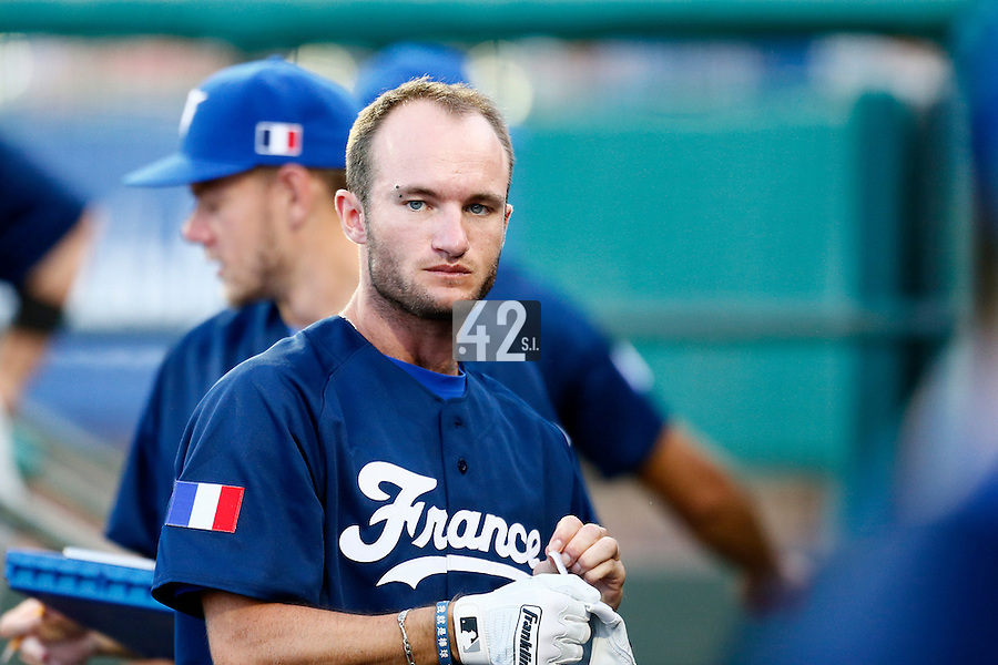 20 September 2012: Joris Bert is seen in the dugout during Spain 8-0 win over France, at the 2012 World Baseball Classic Qualifier round, in Jupiter, Florida, USA.
