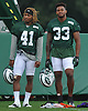 Buster Skrine #41, left, stands alongside Jamal Adams #33 during New York Jets Training Camp at the Atlantic Health Jets Training Center in Florham Park, NJ on Thursday, Aug. 10, 2017.
