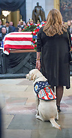 Washington, DC December 4 ,2018: The casket of former President George H.W. Bush lies in the rotunda of the US Capitol in Washington DC. Sully, Bush's service dog made a brief appearance at the casket.  The 41st President died on November 30,2018 and will be buried next to his wife and daughter in Texas.<br /> CAP/MPI/PYL<br /> &copy;PYL/MPI/Capital Pictures