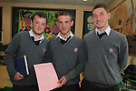 Leaving Cert Students Martin Mullen, Sean McGrath and Eoghan Reilly at St. Josephs Secondary School...(Photo credit should read Jenny Matthews www.newsfile.ie)....This Picture has been sent you under the conditions enclosed by:.Newsfile Ltd..The Studio,.Millmount Abbey,.Drogheda,.Co Meath..Ireland..Tel: +353(0)41-9871240.Fax: +353(0)41-9871260.GSM: +353(0)86-2500958.email: pictures@newsfile.ie.www.newsfile.ie.