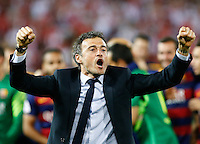 FC Bacelona´s coach Luis Enrique  celebrating afer winning the final of Copa del Rey