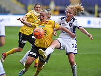 20190810 - ANDERLECHT, BELGIUM : Anderlecht's Charlotte Tison (r) pictured in a fight for the ball with LSK's Therese Asland (left) during the female soccer game between the Belgian RSCA Ladies – Royal Sporting Club Anderlecht Dames  and the Norwegian LSK Kvinner Fotballklubb ladies , the second game for both teams in the Uefa Womens Champions League Qualifying round in group 8 , saturday 10 th August 2019 at the Lotto Park Stadium in Anderlecht  , Belgium  .  PHOTO SPORTPIX.BE for NTB NO | DAVID CATRY