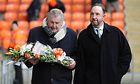 Terry Alcock (left) and Pete Nicholson carry flowers in memory of Fred Pickering<br /> <br /> Photographer Kevin Barnes/CameraSport<br /> <br /> The EFL Sky Bet League One - Blackpool v Oxford United - Saturday 23rd February 2019 - Bloomfield Road - Blackpool<br /> <br /> World Copyright © 2019 CameraSport. All rights reserved. 43 Linden Ave. Countesthorpe. Leicester. England. LE8 5PG - Tel: +44 (0) 116 277 4147 - admin@camerasport.com - www.camerasport.com