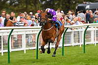 Winner of The Booker Wholesale Handicap Div 2 Cuttin' Edge ridden by Tom Marquand and trained by William Muir during Horse Racing at Salisbury Racecourse on 15th August 2019