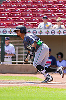 Clinton LumberKings designated hitter Joseph Rosa (22) swings at a pitch during a Midwest League game against the Cedar Rapids Kernels on May 28, 2018 at Perfect Game Field at Veterans Memorial Stadium in Cedar Rapids, Iowa. Clinton defeated Cedar Rapids 4-3. (Brad Krause/Four Seam Images)