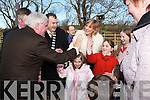 HIGH 5 Kayla ORegan McCannon great grand-daughter of the late Martin Bracker ORegan salutes Minister Dick Roche with a high 5 at the opening of the Bracker ORegan road last Friday..Also in the pic is Brackers daughter Mary, with children Roisin and Emily, and great grandson Oisin, Mayor of  Kerry Ted Fitzgerald and on left Evelyn ORegan..