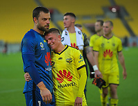 Phoenix's Stefan Marinovic and Cameron Devlin after the A-League football match between Wellington Phoenix and Brisbane Roar at Westpac Stadium in Wellington, New Zealand on Saturday, 23 November 2019. Photo: Dave Lintott / lintottphoto.co.nz