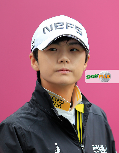 Sung Hyun Park (KOR) on the 1st tee to start her match during Saturday's Round 3 of The 2016 Evian Championship held at Evian Resort Golf Club, Evian-les-Bains, France. 17th September 2016.<br /> Picture: Eoin Clarke | Golffile<br /> <br /> <br /> All photos usage must carry mandatory copyright credit (&copy; Golffile | Eoin Clarke)