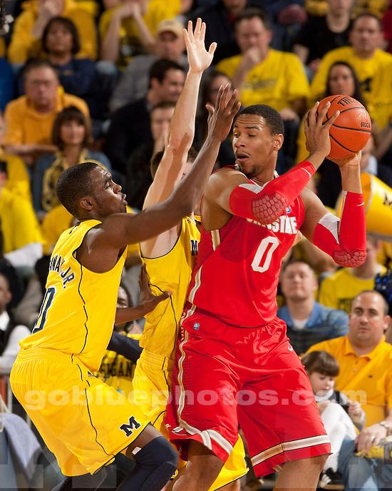 The University of Michigan men's basketball team beat Ohio State University, 56-51, at Crisler Center in Ann Arbor, Mich., on February 18, 2012.