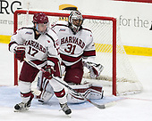 Sean Malone (Harvard - 17), Merrick Madsen (Harvard - 31) - The Harvard University Crimson defeated the visiting Cornell University Big Red on Saturday, November 5, 2016, at the Bright-Landry Hockey Center in Boston, Massachusetts.
