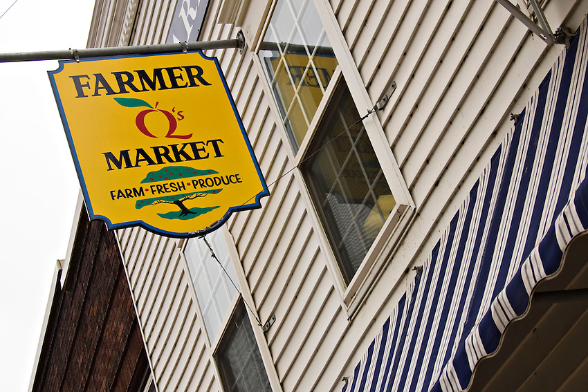 A farmstand produce store in downtown Marquette Michigan.
