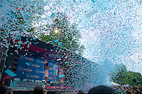 maglia bianca Fabio Aru (ITA/Astana) getting honoured by a white and (Astana) blue confetti on the final 2015 Giro d'Italia podium<br /> <br /> final stage 21: Torino - Milano (178km)