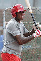 Infielder David Washington (52) of the Johnson City Cardinals, Appalachian League affiliate of the St. Louis Cardinals, prior to a game against the Danville Braves on August 19, 2011, at Howard Johnson Field in Johnson City, Tennessee. Danville defeated Johnson City, 5-4, in 16 innings. (Tom Priddy/Four Seam Images)