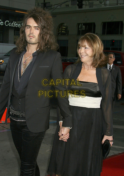 "RUSSELL BRAND & MOTHER .""Forgetting Sarah Marshall"" Los Angeles Premiere held at Grauman's Chinese Theatre, Hollywood, California, USA, 10 April 2008..half length black jacket shirt chest hair mum family waistcoat holding hands necklaces .CAP/ADM/RE.©Russ Elliot/Admedia/Capital PIctures"
