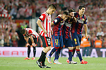 FC Barcelona's Neymar Santos Jr, Leo Messi and Luis Suarez celebrate the victory in the Spanish King's Cup Final match in presence of Unai Bustinza dejected. May 30,2015. (ALTERPHOTOS/Acero)