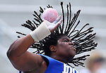 Indiana State's Felisha Johnson throws in the women's shot put at the 2011 NCAA Outdoor Teack & Field Championships June 11 in Des Moines.