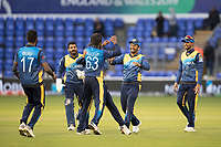 Sri Lanka celebrate the dismissal of Rashid Khan (Afghanistan)  bowled by Nuwan Pradeep (Sri Lanka) during Afghanistan vs Sri Lanka, ICC World Cup Cricket at Sophia Gardens Cardiff on 4th June 2019