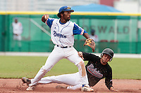 27 july 2010: Felix Brown of France throws the ball to first base for a double play during France 8-2 victory over Belgium, in day 5 of the 2010 European Championship Seniors, in Stuttgart, Germany.