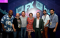 SAN DIEGO COMIC-CON© 2019:  L-R: 20th Century Fox Television's AMERICAN DAD Cast Member Kevin Michael Richardson, Producer Matt Weitzman, Cast Members Scott Grimes, Rachael MacFarlane, Dee Bradley Baker, Producer Steve Hely and Writer/Cast Member Jeff Kauffmann during the AMERICAN DAD booth signing on Saturday, July 20 at the SAN DIEGO COMIC-CON© 2019. CR: Alan Hess/20th Century Fox Television