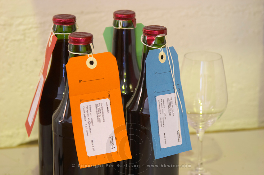 Bottled samples with labels for the French control authority INAO sealed with cord and capsule Chateau Paloumey Haut-Medoc Ludon Medoc Bordeaux Gironde Aquitaine France