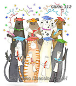 Kate, CUTE ANIMALS, LUSTIGE TIERE, ANIMALITOS DIVERTIDOS, paintings+++++Graduation cats and dogs,GBKM312,#ac#, EVERYDAY ,dogs,dog,graduation