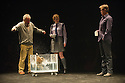 London, UK. 24.10.2014. THE WILD DUCK, by Simon Stone and Chris Ryan after Henrik Ibsen, opens at the Barbican. Picture shows: Richard Piper (Ekdal), Bob (Duck), Sara West (Hedwig Ekdal), and Dan Wyllie (Gregers Werle). Photograph © Jane Hobson.
