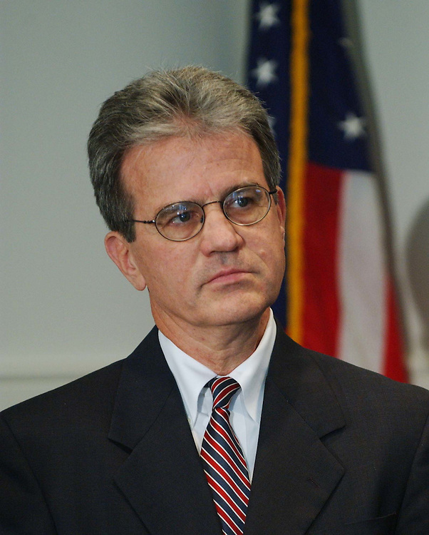 "11/15/04.SENATE GOP FRESHMEN OF 109TH CONGRESS--Tom Coburn, Oklahoma, during a news conference with NRSC Chairman Sen. George Allen, R-Va., at NRSC headquarters. Allen gave each Senator-elect a ""game ball"" for winning their respective campaigns. .CONGRESSIONAL QUARTERLY PHOTO BY SCOTT J. FERRELL"