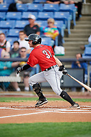 Erie SeaWolves second baseman Will Maddox (31) follows through on a swing during a game against the Binghamton Rumble Ponies on May 14, 2018 at NYSEG Stadium in Binghamton, New York.  Binghamton defeated Erie 6-5.  (Mike Janes/Four Seam Images)