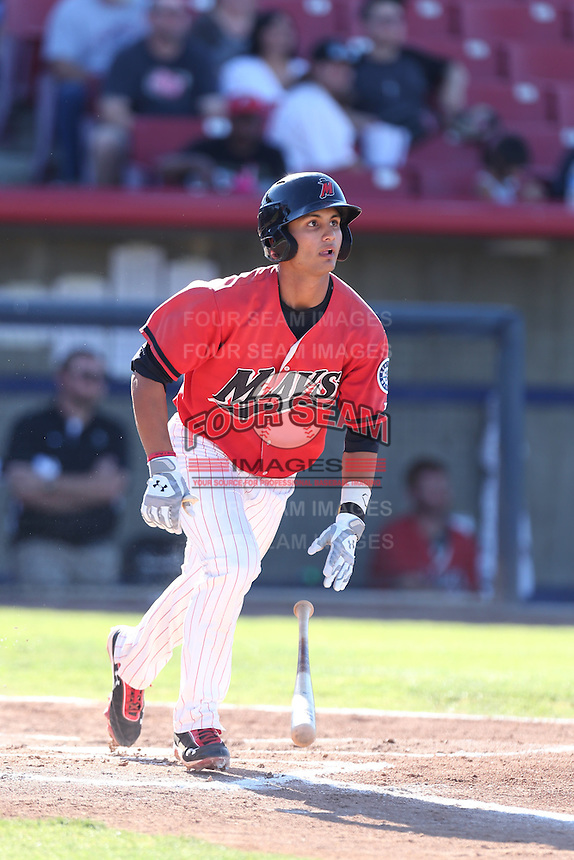 Tim Lopes #3 of the High Desert Mavericks runs to first base during a game against the Modesto Nuts at Heritage Field on June 29, 2014 in Adelanto, California. High Desert defeated Modesto, 6-1. (Larry Goren/Four Seam Images)