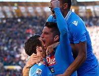Dries Mertens  esulta dopo il primo gol durante l'incontro di calcio di Serie A  Napoli Sampdoria allo  Stadio San Paolo  di Napoli , 6 gennaio 2014