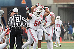 Wisconsin Badgers linebacker Chris Orr (54) celebrates a turnover during an NCAA College Big Ten Conference football game against the Illinois Fighting Illini Saturday, October 28, 2017, in Champaign, Illinois. The Badgers won 24-10. (Photo by David Stluka)