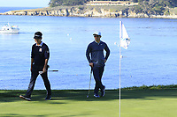 Kevin Na (USA) and Paul Casey (ENG) at the 5th green during Sunday's Final Round of the 2018 AT&amp;T Pebble Beach Pro-Am, held on Pebble Beach Golf Course, Monterey,  California, USA. 11th February 2018.<br /> Picture: Eoin Clarke | Golffile<br /> <br /> <br /> All photos usage must carry mandatory copyright credit (&copy; Golffile | Eoin Clarke)