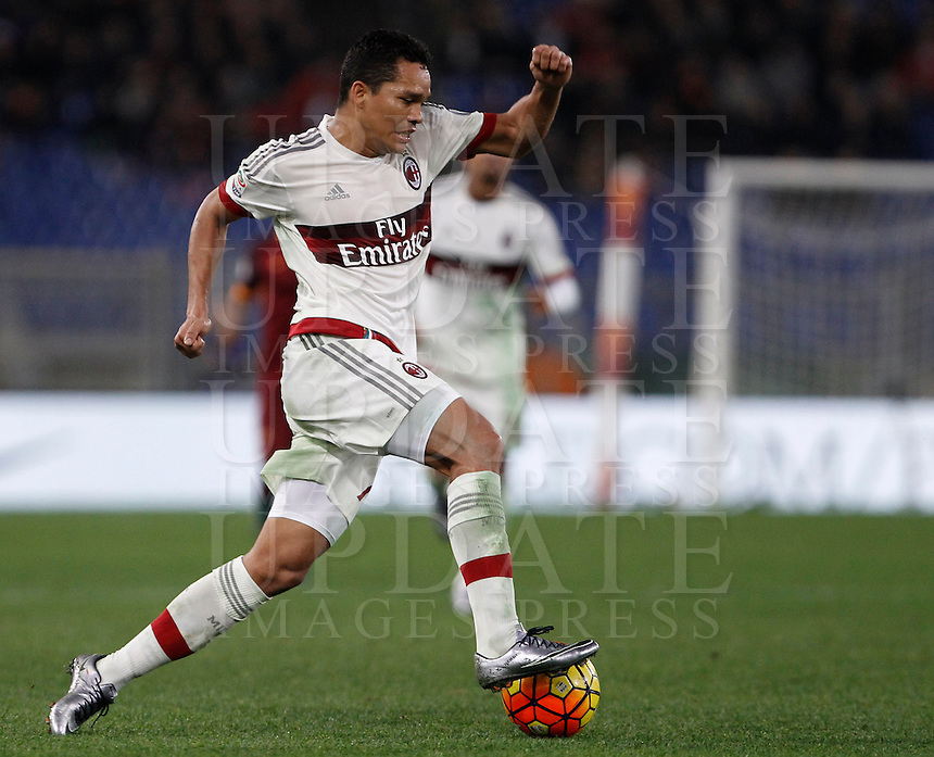 Calcio, Serie A: Roma vs Milan. Roma, stadio Olimpico, 9 gennaio 2016.<br /> AC Milan&rsquo;s Carlos Bacca in action during the Italian Serie A football match between Roma and Milan at Rome's Olympic stadium, 9 January 2016.<br /> UPDATE IMAGES PRESS/Isabella Bonotto